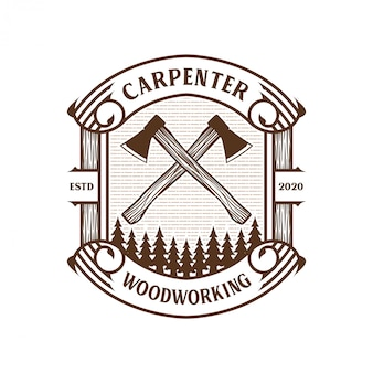 Carpenter vintage logo with hammer and chisel element for brand label