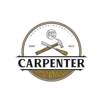 Carpenter vintage logo with hammer and chisel element