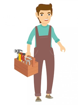 A carpenter walk and holding many tools for work