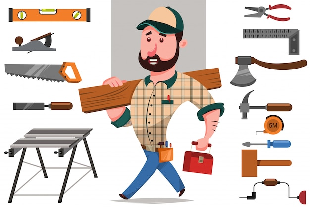 Carpenter with a log and a set of tools for woodworking and repair