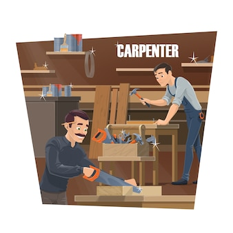 Carpenter, woodworker and joiner workers