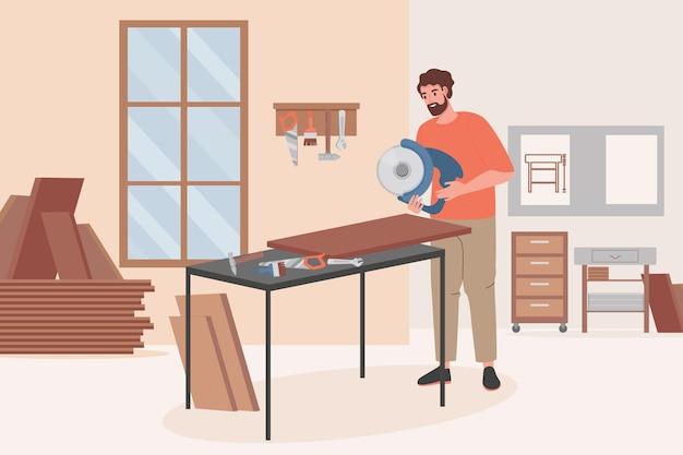 Плотник делает работу по дереву на иллюстрации мебельной мастерской