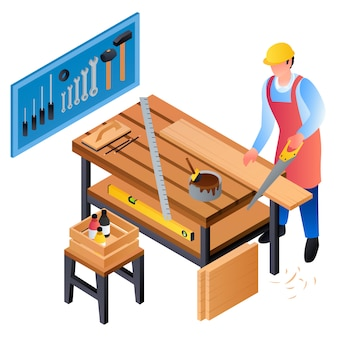 Carpenter working concept, isometric style