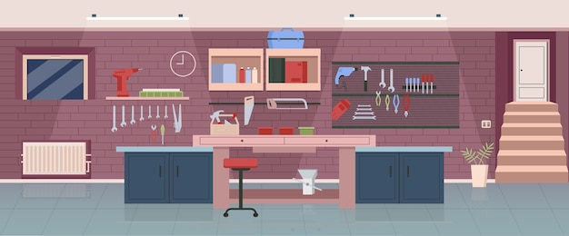 Плотницкая мастерская плоского цвета. деревообрабатывающий офис, гараж 2d мультфильм дизайн интерьера с рабочими инструментами на фоне. рабочее место профессионального разнорабочего, декор столярной студии