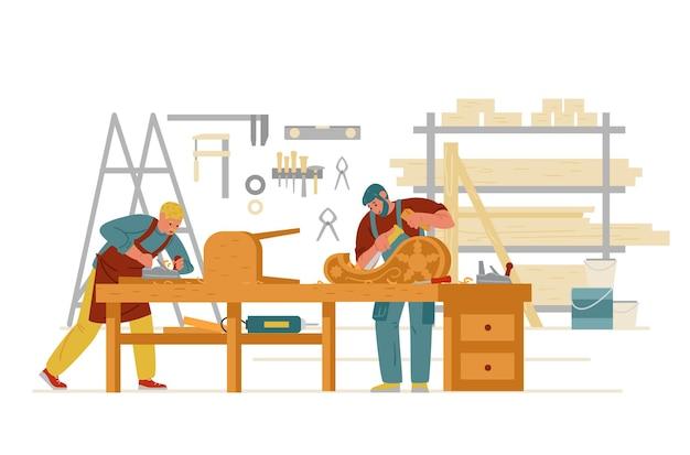 Carpenter workshop interior with men working carving on wood making furniture craftsman character