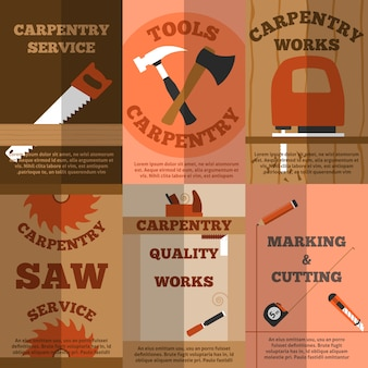 Carpentry 6 flat banners poster