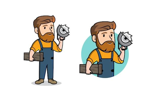 大工仕事のキャラクターのマスコットのロゴ