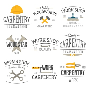 Carpentry and construction tools emblems.