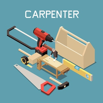 Carpentry furniture making tools isometric composition with saw hammer bubble level        electric drill tape measure