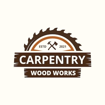 Carpentry industries company logo template