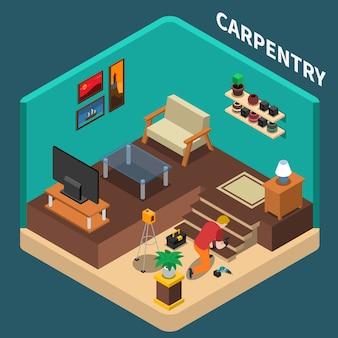 Illustrazione isometrica di carpenteria