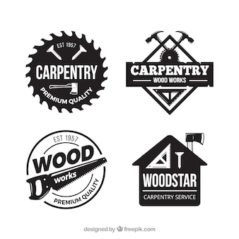 Carpentry label collection with vintage style