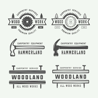 Carpentry logo set