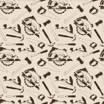 Carpentry tools seamless pattern design