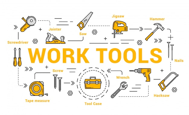 Carpentry and woodwork tools, diy toolkit
