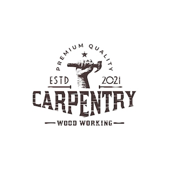 Carpentry or woodworker logo with an illustration of hammer and wood planer