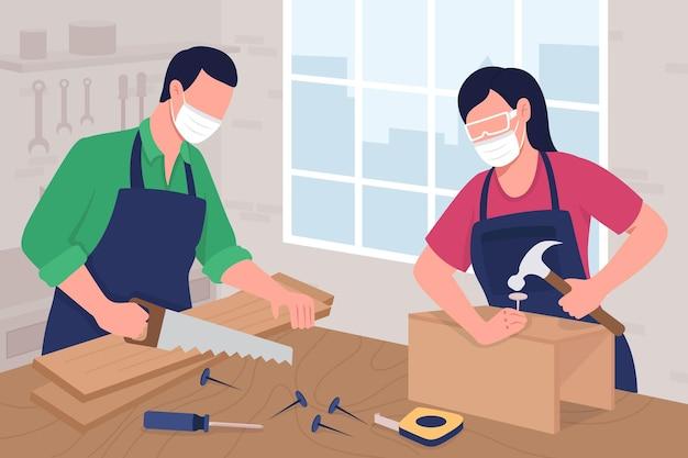 Плотницкая мастерская плоские цветные векторные иллюстрации. услуги по обработке дерева. разнорабочий работает над шкафом. мастер с инструментами. плотники 2d героев мультфильмов с интерьером на заднем плане