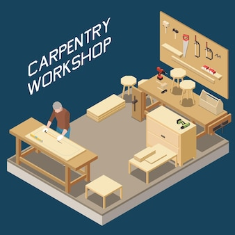 Carpentry workshop isometric composition with woodworker measuring wooden plank furniture production process tools storage board