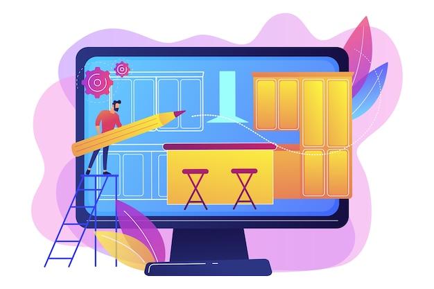 大工のワークショップ。部屋のデザイン、家の装飾、インテリアデザイナー。カスタムメイドのキッチン、オーダーメイドのキッチンデザイン、モダンな設備の整ったキッチンのコンセプト。