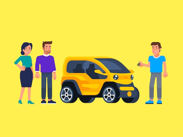 Carpool and car sharing. happy people in front of the car.