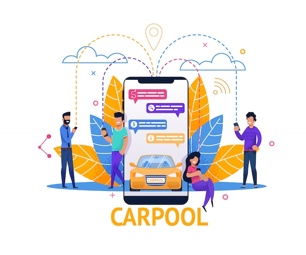 Carpool mobile application and ride planning in chat