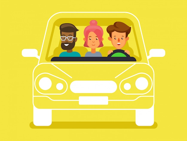 Carpool with driver and passengers characters. diverse group of people shares car, front view
