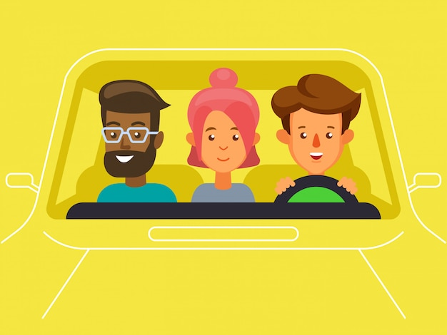 Carpool with driver and passengers characters