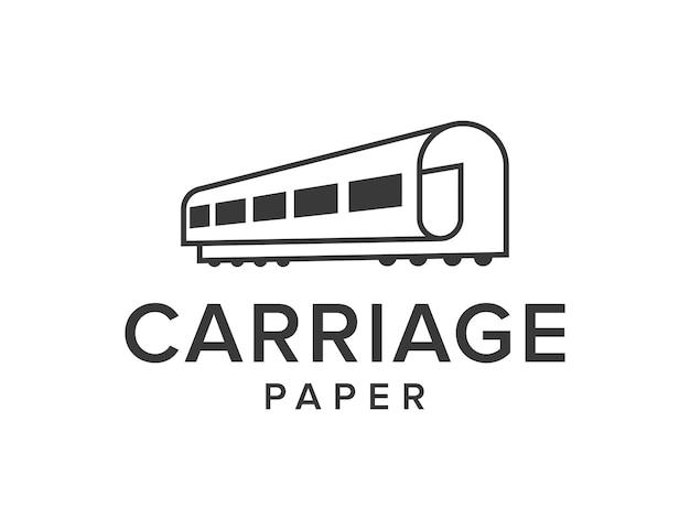 キャリッジと紙のシンプルで洗練された創造的な幾何学的なモダンなロゴデザイン