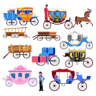Карета тренер вектор старинный транспорт со старыми колесами и антикварные перевозки