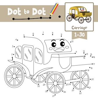 Carriage dot to dot game and coloring book