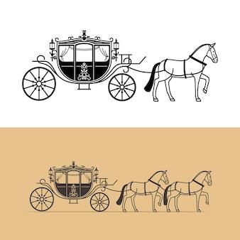 말과 함께 마차 실루엣입니다. 말 마차 실루엣