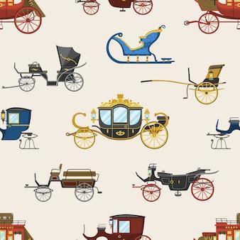 古いホイールとロイヤルコーチと戦車やワゴンのシームレスなパターンの背景を旅行するためのアンティーク輸送イラストセットとキャリッジベクトルヴィンテージ輸送