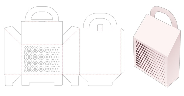 Carrier chamfered packaging box with stenciled halftone dots die cut template