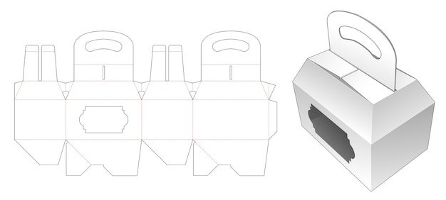 Carrier packaging box with window die cut template