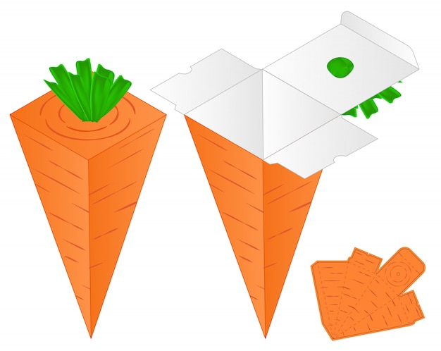 Carrot box packaging die cut template