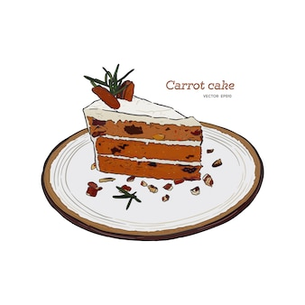 キャロットケーキ、クルミ、プルーン、ドライアプリコット手描きのスケッチ
