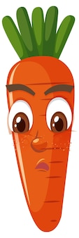 Carrot cartoon character with facial expression
