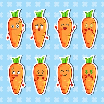 Carrot character stickers set. collection of flat illustrations premium vector