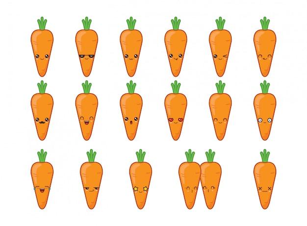 Carrot cute kawaii mascot. set kawaii food faces