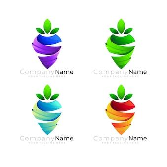 にんじんのアイコン、文字sのデザインの組み合わせとフルーツのロゴ