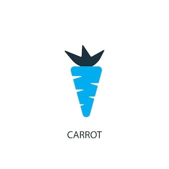 Значок моркови. иллюстрация элемента логотипа. дизайн символа моркови из 2-х цветной коллекции. простая концепция моркови. может использоваться в интернете и на мобильных устройствах.