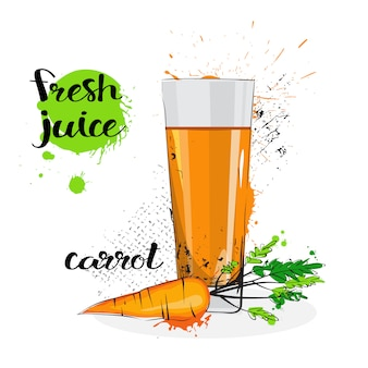 Carrot juice fresh hand drawn watercolor vegetable and glass on white background