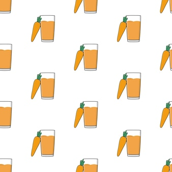 Carrot juice seamless pattern on a white background. carrot theme vector illustration