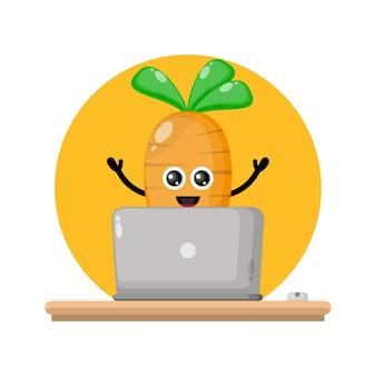 Carrot laptop cute character logo