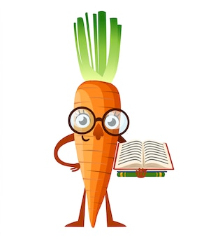 Carrot mascot. cartoon carrot with glasses holds book. learning concept.  illustration  on white background. web site page and mobile app