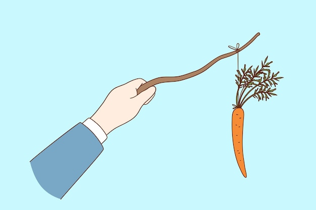 Carrot and stick reward and punishment concept