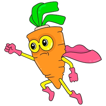 Carrot vegetable superhero is nutritious and vitamin, vector illustration art. doodle icon image kawaii.