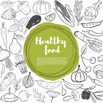 ニンジン、キャベツ、カボチャ、タマネギ、ニンニク、ブロッコリー、コショウ、トマト、キュウリ。手描き野菜のセットです。健康食品のテンプレートです。