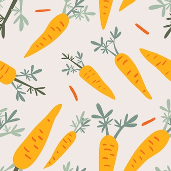 Carrots doodle seamless pattern