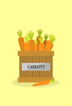 Carrots in the wooden box